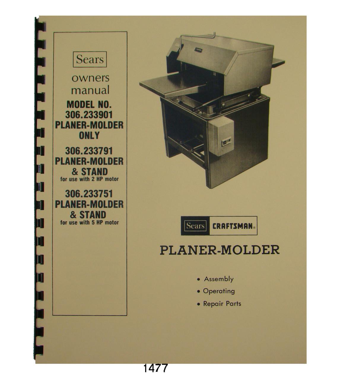 Jet   JPM-13 Wood Planer Molder Owners  Manual *185