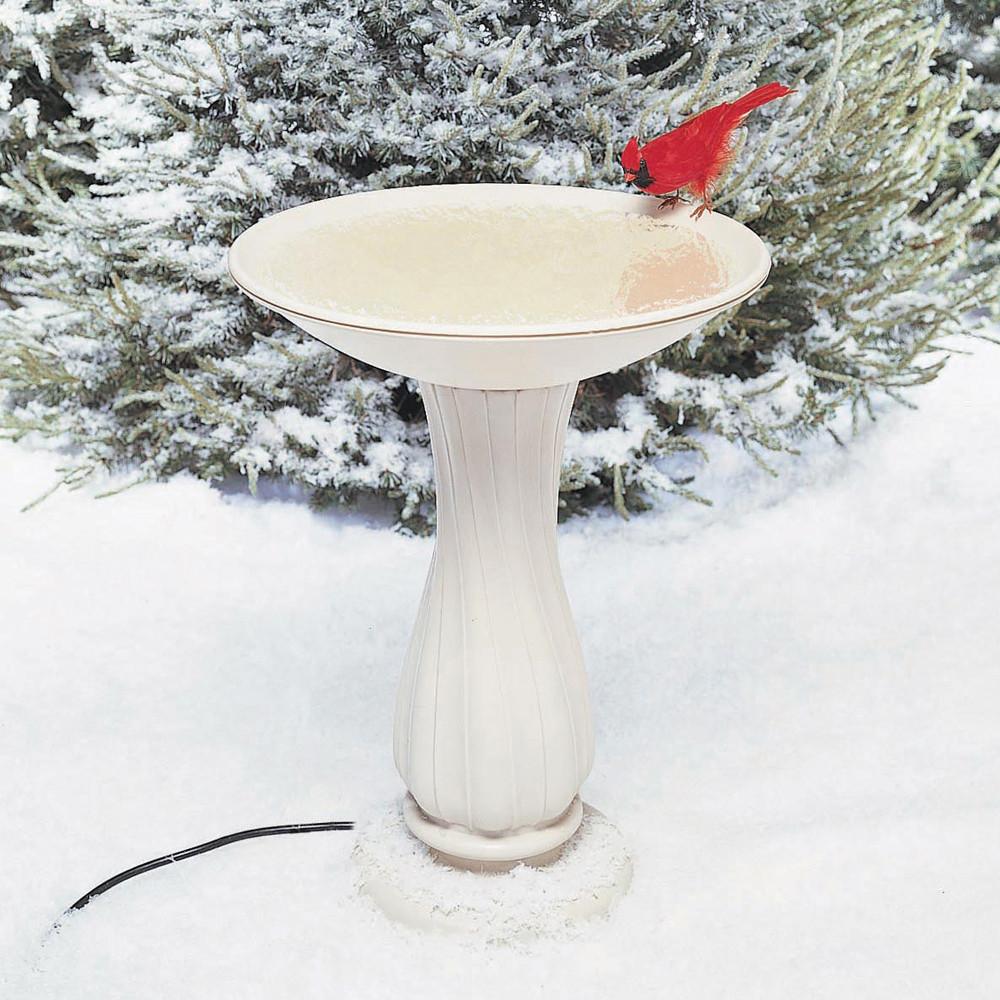 """API-20""""-Beige-Heated-Birdbath-On-Pedestal"""