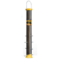 "Droll Yankees 23"" Finch Flocker Yellow Nyjer Tube Feeder 8 Ports"