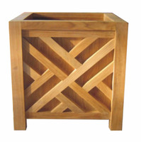 Teak-Planter-Chippendale-15in-sq.-by-Regal-Teak