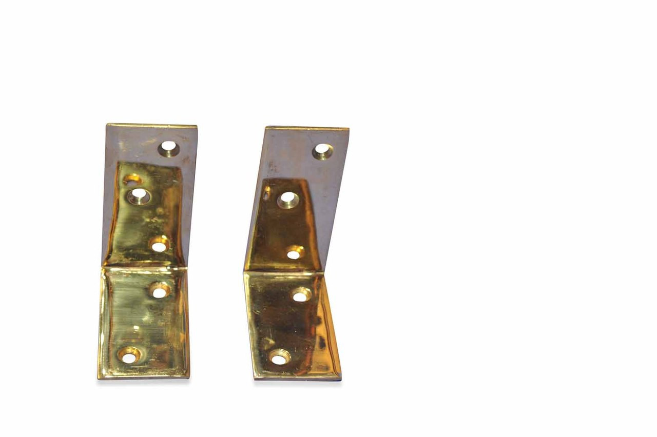 Teak Furniture Brass Angle Bracket Pair