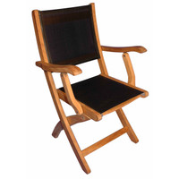 PAIR - Teak Providence Chair with Batyline Black by Regal Teak