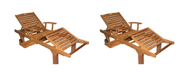 Teak Furniture PAIR  Sun Lounger