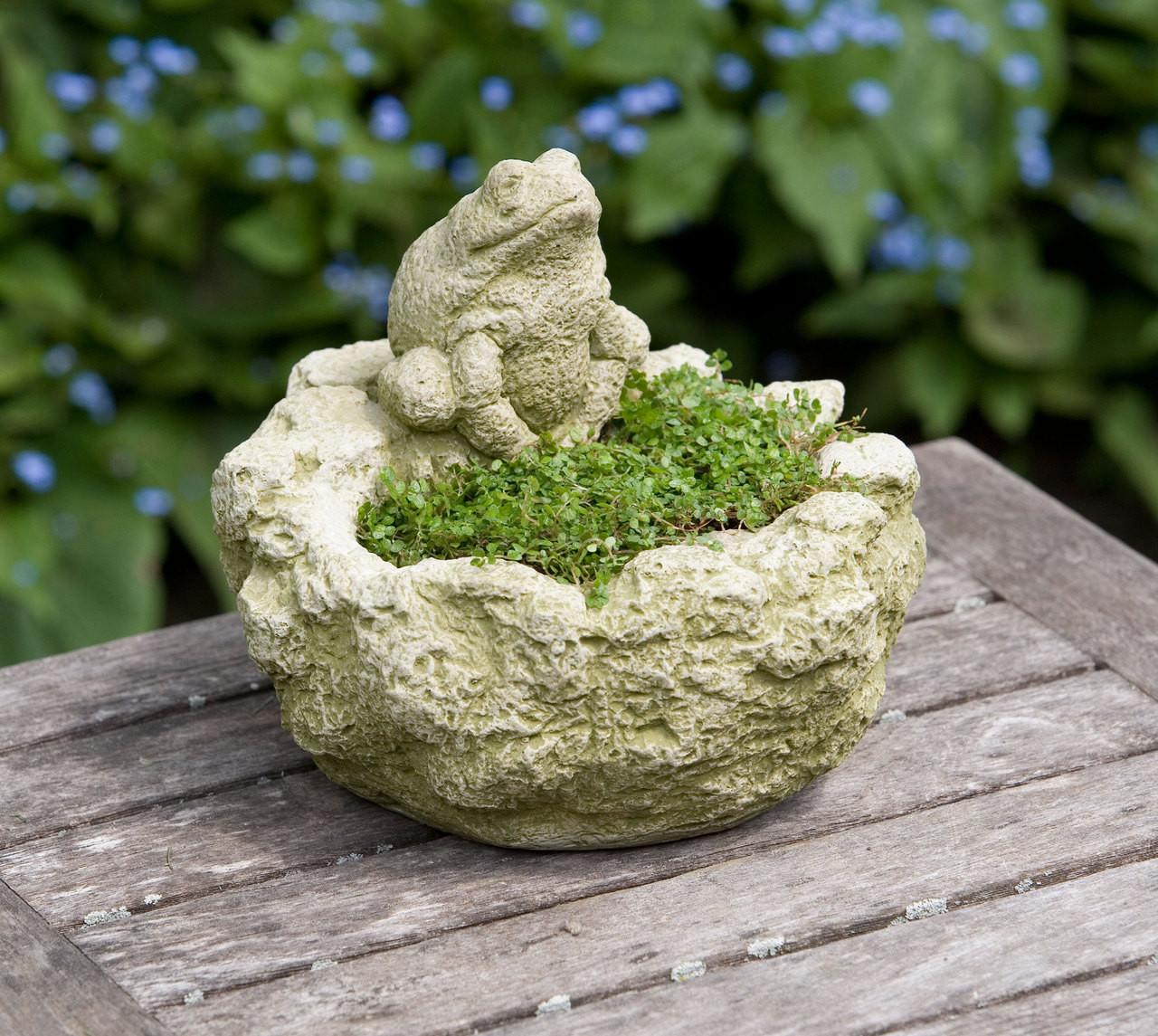 Campania Stone mini frog planter.