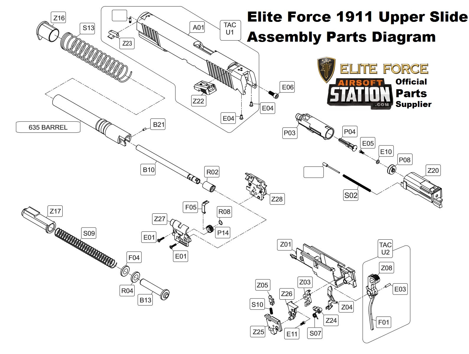 Umarex Elite Force/KWC 1911 A1 & TAC CO2 Pistol Parts