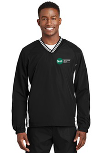 Tipped V-Neck Raglan Wind Shirt (Black)