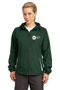Ladies Colorblock Hooded Raglan Jacket (Green)