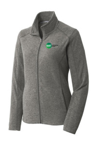 Ladies Heather Microfleece Full-Zip Jacket (Gray)