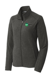 Ladies Heather Microfleece Full-Zip Jacket (Black)