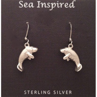 Sterling silver Manatee Dangle Wire Earring
