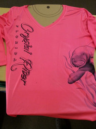 Sketch Manatee Ladies V-neck Performance Shirt