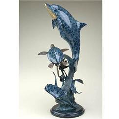 "Collections inspired by the beauty of nature...SPI. Dolphin cavorts with other sea-life in hand-cast, hand-finished brass. Measures 29.5"" tall by 13"" wide by 10"" deep. Materials -BRASS"