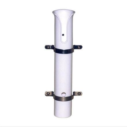 Side Mount Rod Holder - White Plastic, Stainless Steel Saddles