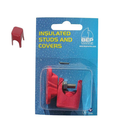BEP Insulated 6mm Power Stud with Red Cover - Packaged