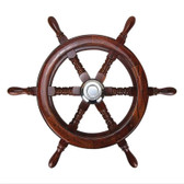 Teak Steering Wheel with Cap