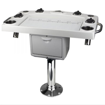 Reelax Light Tackle Station White Deluxe Prep Board with Tackle Drawer & Stainless Steel Pedestal