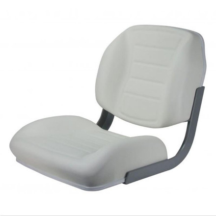 Reelax Deluxe White Helm Chair with Stainless Steel Logo & No Arms - White Trim