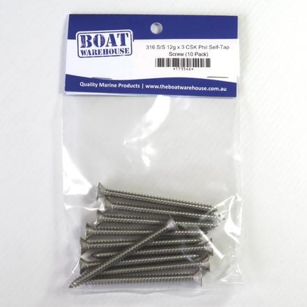 316 Stainless Steel Countersunk Philips Self-Tap Screws - 12g (25 pack)