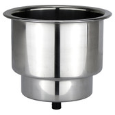 Stainless steel drain drink holder with blue led