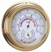 Brass Thermometer & Hygrometer -  Code Flags - 120mm