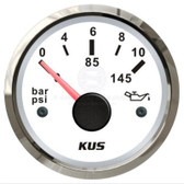 KUS Oil Pressure Gauge - White & Stainless