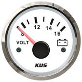KUS Volt Meter Gauge - White & Stainless