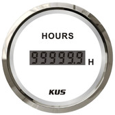 KUS Hour Meter Gauge - Digital, White & Stainless Steel