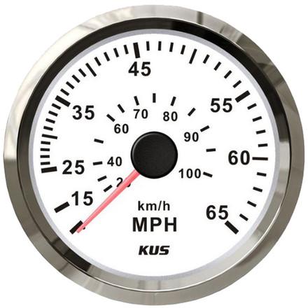 KUS Speedometer Gauge - White & Stainless Steel