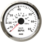 KUS Speedometer Gauge - White & Stainless Steel