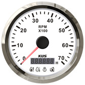 KUS Tacho/Hour Meter Gauge - White & Stainless Steel