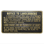 Plaques - Toilet - Notice to Landlubbers