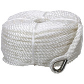 3 strand silver anchor rope with stainless steel thimble