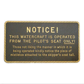Plaque - Operated From The Pilot's Seat