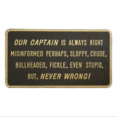 RWB Marine Plaque - Captain Is Always Right