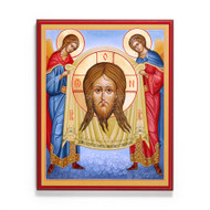 "This icon, also known as the Holy Face, Holy Napkin or Mandylion, portrays the face of Christ on a piece of cloth, carried by two angels.  According to Christian legend, King Abgar of Edessa wrote to Jesus, asking him to come cure him of an illness. Jesus declined the invitation, but sent a disciple with a miracle-working image of Jesus the first icon. The ""Made Without Hands"" image has long been considered a powerful weapon against iconoclasm.  The feast of this icon is celebrated on August 16."