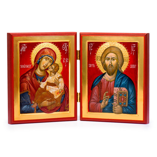 This icon set is made of museum quality prints on the front with hand made and hand painted boards.