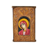 Theotokos Hand-Painted Icon with Carved Border