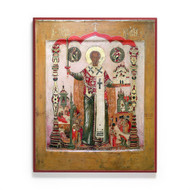 Saint Nicholas with Sword and Scenes Icon - S463