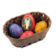 Basket of Large Painted Eggs