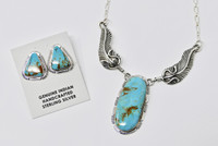 Necklace and Earrings Set Navajo Turquoise