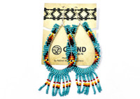 Earrings Navajo Beadwork Large Oval Dangle