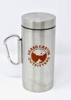 Go Hike the Canyon Grand Canyon Outfitters Stainless Steel Carabiner Travel Mug Orange