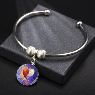 Yin Yang Heart Energy Charm Bracelet