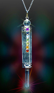 Clear Quartz 7 Chakra Magic Healing Wand-Pendant Combination  -  Authentic Natural Gems - Guaranteed