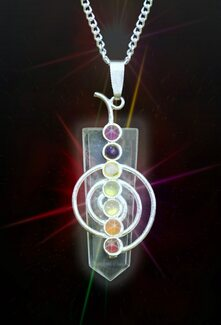 Clear Quartz 7 Chakra Cho Ku Rei Style Energy  Healing Pendant - Authentic Natural Gems - Guaranteed