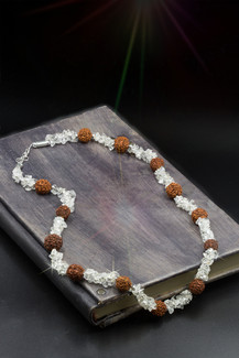 "Sacred Rudraksha Goddess Necklace  - Clear Quartz And ""Goddess"" Seed."