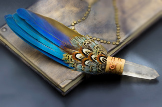 Ritually Made Sacred Smudging & Healing Fan - Macaw & Quartz Crystal With Pheasant