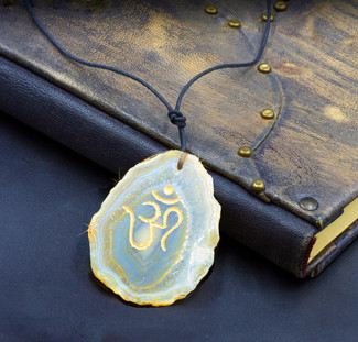 Agate OM Higher Vibration  Amulet - Guaranteed Natural Stone