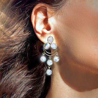Rainbow Moonstone Traveler's Protection Energy Earrings