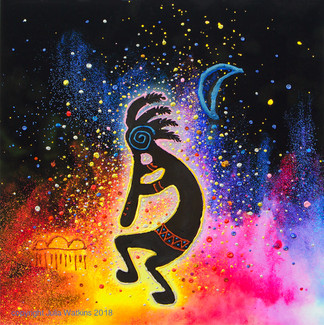 "Kokopelli ""Life Spark"" And Abundance Energy Painting - Giclee Print"